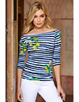 Striped Lemon Ballet Neck Top Photo