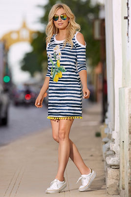 Striped lemon print dress