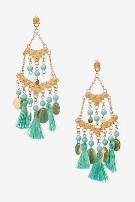 Tassel coin chandelier earrings