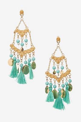Tassel coin chandelier earrings
