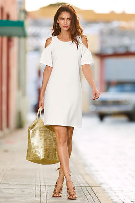 Travel flutter cold-shoulder dress