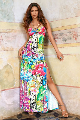 Tropic stripes maxi dress