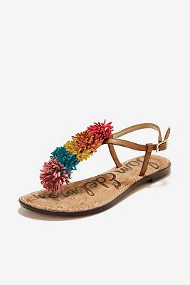 pom pom fringe sandal