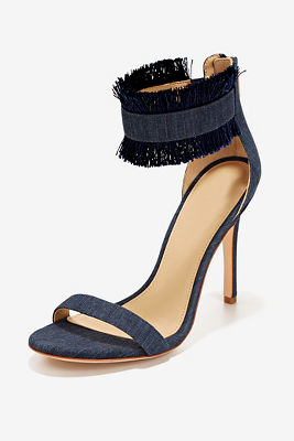 frayed denim ankle strap heel