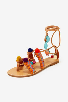 Pom pom lace up sandal
