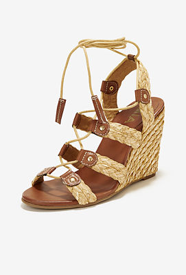 Raffia lace-up wedge