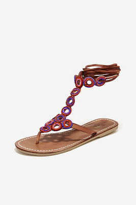 Seed bead lace-up sandal