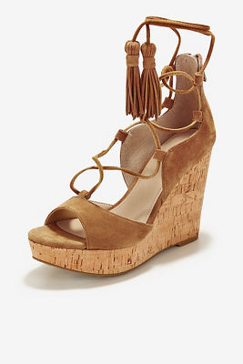 Tassel lace-up wedge