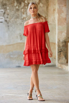 Off-the-shoulder tiered lace dress