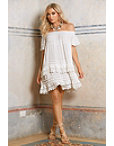 Off-the-shoulder Tiered Lace Dress Photo