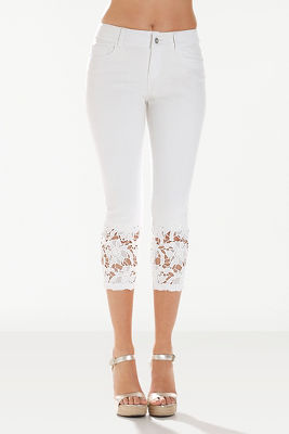 Lace inset crop jean