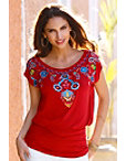 Embroidered Cap Sleeve Blouson Top Photo