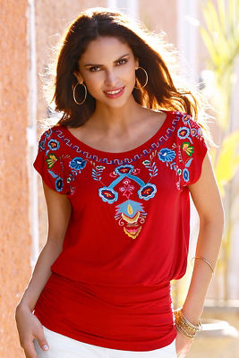 embroidered cap sleeve blouson top