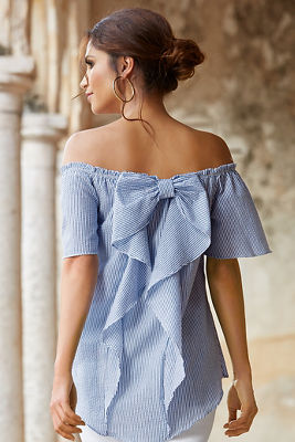 Off-the-shoulder striped bow top