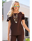 Travel Cold Shoulder Ruffle Top I Photo