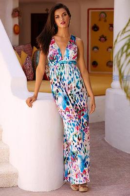 Embellished plunge animal maxi dress