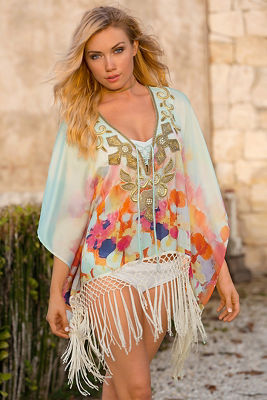Embellished printed tunic top