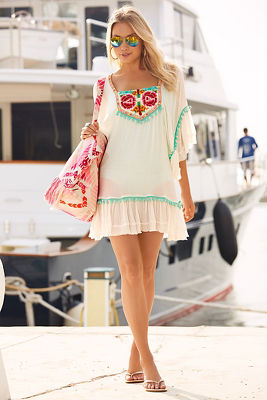 Floral embellished pom-pom cover-up