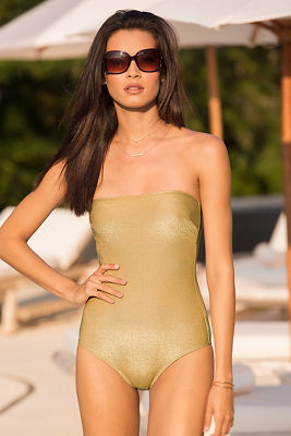 Gold strapless one-piece swimsuit