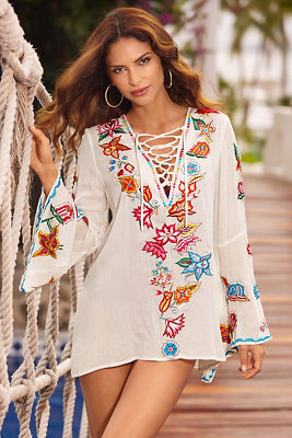 Lace-up embroidered tunic top