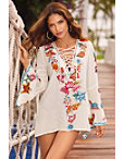 Lace-up Embroidered Tunic Top Photo