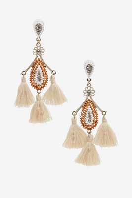 Beaded tassel chandelier earrings