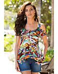Feathered Cold Shoulder Swirl Top Photo
