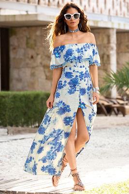 Blue floral pom-pom maxi dress