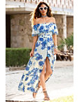 Blue Floral Pom-pom Maxi Dress Photo
