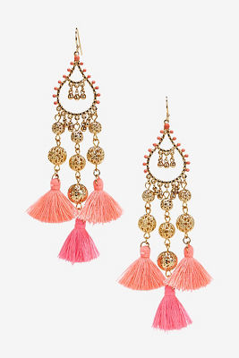 Bright tassel chandelier earrings