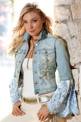 Embellished lace sleeve denim jacket