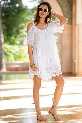 Cold shoulder boho lace inset dress