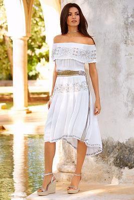 Embroidered off-the-shoulder dress