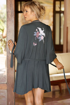 Embroidered bird robe
