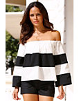 Off-the-shoulder Chunky Striped Top Photo