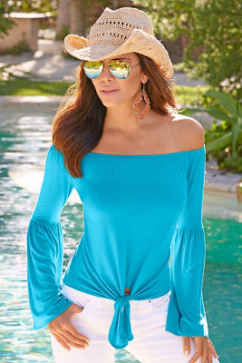 Off-the-shoulder flare sleeve top