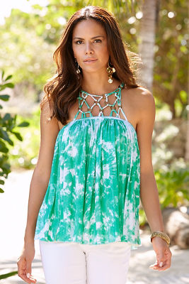 Knotted neck tie-dye top