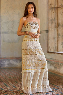 Gold inset lace maxi dress