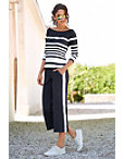 Long Sleeve Striped Cropped Two-piece Set Photo