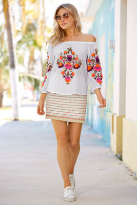 Neon fringe trim mini skirt
