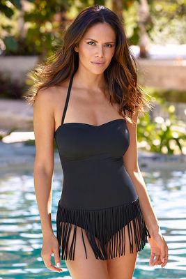 Fringe detail one-piece swimsuit