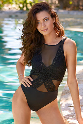 Lace and mesh high neck one-piece swimsuit