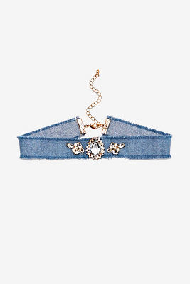 Jewel denim choker necklace