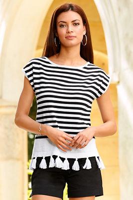 Stripe tassel bottom sweater