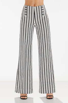 Wide leg striped trouser pant