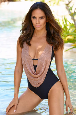 Metallic mesh one-piece swimsuit