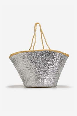 Sequin straw tote bag