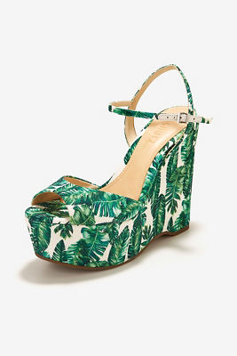 Palm print wedge heel
