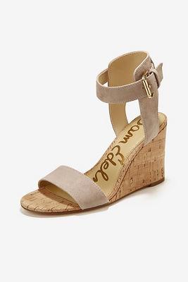 Blush ankle strap wedge heel