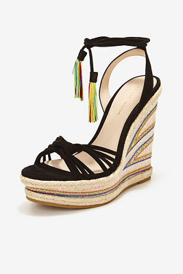 Embroidered lace-up wedge heel